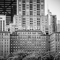 Black and White Drake Hotel in Chicago. The Drake Hotel is one of Chicago's most popular hotels.