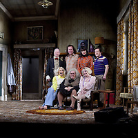 (l-r) Brian Pettifer, Paul Riley, Maureen Beattie and Jonathan Watson <br /> (front)  Louise McCarthy, Gregor Fisher and Barbara Rafferty.<br /> <br /> Yer Granny - a new production by The National Theatre of Scotland opens at the Beacon arts Centre, Greenock, Scotland.<br /> <br /> <br /> Based on La Nona by Roberto Cossa<br /> In a new version by Douglas Maxwell<br /> Directed by Graham McLaren<br /> <br /> <br /> Picture by Drew Farrell<br /> Tel : 07721-735041<br /> Image offered on a speculative basis.<br /> <br /> Yer Granny is a riotous new comedy about a diabolical 100-year-old granny who&rsquo;s literally eating her family out of house and home. She&rsquo;s already eaten their fish and chip shop into bankruptcy and now she&rsquo;s working her way through their kitchen cupboards, pushing the Russo family to desperate measures just to survive beyond 1977.<br /> <br /> As proud head of the family, Cammy is determined that The Minerva Fish Bar will rise again and that family honour will be restored &ndash; and all in time for the Queen&rsquo;s upcoming Jubilee visit. But before Cammy&rsquo;s dream can come true and before Her Maj can pop in for a chat, a single sausage and a royal seal of approval, the family members must ask themselves how far they will go to solve a problem like Yer Granny.<br /> <br /> Adapted from the smash-hit Argentinian comedy classic La Nona, the cast of Yer Granny features some of Scotland&rsquo;s best-loved performers, including Gregor Fisher in the title role, alongside Paul Riley (Still Game), Jonathan Watson (Only An Excuse?), Maureen Beattie (Casualty), Barbara Rafferty (Rab C Nesbitt), Brian Pettifer (The Musketeers) and Louise McCarthy (Mamma Mia!, West End).<br /> <br /> Performance dates :<br /> The Beacon Arts Centre, Greenock<br /> 19/05/2015&nbsp;-&nbsp;21/05/2015 <br /> <br /> King's Theatre, Glasgow<br /> 26/05/2015&nbsp;-&nbsp;30/05/2015 <br /> <br /> King's Theatre, Edinburgh<br /> 02/06/2015&nbsp;-&nbsp;06/06/2015 <br 