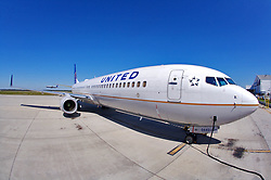 United flight parked for maintenance at Houston's Intercontinental Airport