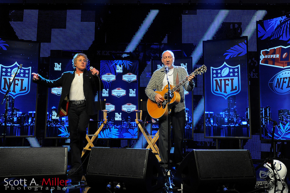 Fort Lauderdale, FL; Pete Townsend and Roger Daltery of the Who during a press conference for the Super Bowl at the Fort Lauderdale Convention Center on Feb. 4, 2010..©2010 Scott A. Miller
