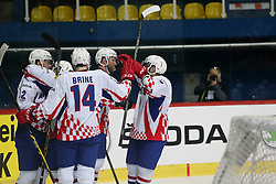 20.04.2016, Dom Sportova, Zagreb, CRO, IIHF WM, Rumaenien vs Kroatien, Division I, Gruppe B, im Bild Jubel Kroatien // during the 2016 IIHF Ice Hockey World Championship, Division I, Group B, match between Romania and Croatia at the Dom Sportova in Zagreb, Croatia on 2016/04/20. EXPA Pictures © 2016, PhotoCredit: EXPA/ Pixsell/ Dalibor Urukalovic<br /> <br /> *****ATTENTION - for AUT, SLO, SUI, SWE, ITA, FRA only*****
