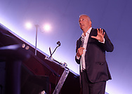 Garden City, New York, USA. June 21, 2018. Space Shuttle Astronaut Mike Massimino, a Long Island native, gives free lecture in JetBlue Sky Theater Planetarium at the Cradle of Aviation Museum. His Lecture is part of the museum's Countdown to Apollo at 50, celebrating 50th anniversary of Apollo 11 moon landing on July 20, 1969.