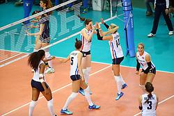 18-06-2016 ITA: World Grand Prix Italie - Nederland, Bari<br /> Nederland wint opnieuw van Italie, het ging moeizaam maar de 3-1 winst was genoeg / Lonneke Sloetjes #10, Laura Dijkema #14, Kirsten Knip #1<br /> <br /> ***NETHERLANDS ONLY***