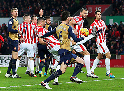 Jonathan Walters of Stoke City clears the ball - Mandatory byline: Matt McNulty/JMP - 17/01/2016 - FOOTBALL - Britannia Stadium - Stoke, England - Stoke City v Arsenal - Barclays Premier League