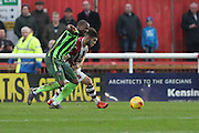 Tom Elliott of AFC Wimbledon during the Sky Bet League 2 match between Exeter City and AFC Wimbledon at St James' Park, Exeter, England on 28 December 2015. Photo by Stuart Butcher.