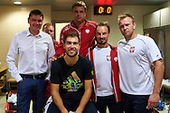 (L-R) Minister of Sport Adam Korol (former rower and olympic gold medalist) and Jerzy Janowicz and Marcin Matkowski and Radoslaw Szymanik - captain national team and Grzegorz Panfil all from Poland during Davis Cup Tie World Group Play-off Poland v Slovakia at Gdynia Arena Hall in Gdynia, Poland.<br /> <br /> Poland, Gdynia, September 18, 2015<br /> <br /> Picture also available in RAW (NEF) or TIFF format on special request.<br /> <br /> For editorial use only. Any commercial or promotional use requires permission.<br /> <br /> Adam Nurkiewicz declares that he has no rights to the image of people at the photographs of his authorship.<br /> <br /> Mandatory credit:<br /> Photo by © Adam Nurkiewicz / Mediasport
