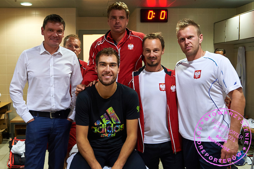 (L-R) Minister of Sport Adam Korol (former rower and olympic gold medalist) and Jerzy Janowicz and Marcin Matkowski and Radoslaw Szymanik - captain national team and Grzegorz Panfil all from Poland during Davis Cup Tie World Group Play-off Poland v Slovakia at Gdynia Arena Hall in Gdynia, Poland.<br /> <br /> Poland, Gdynia, September 18, 2015<br /> <br /> Picture also available in RAW (NEF) or TIFF format on special request.<br /> <br /> For editorial use only. Any commercial or promotional use requires permission.<br /> <br /> Adam Nurkiewicz declares that he has no rights to the image of people at the photographs of his authorship.<br /> <br /> Mandatory credit:<br /> Photo by &copy; Adam Nurkiewicz / Mediasport