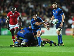 Sebastien Tillous-Borde of France passes  - Mandatory byline: Joe Meredith/JMP - 07966386802 - 01/10/2015 - Rugby Union, World Cup - Stadium:MK -Milton Keynes,England - France v Canada - Rugby World Cup 2015