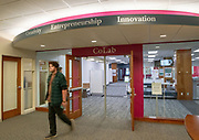 Ohio University officially opened CoLab, a space designed as a physical hub for student innovation and entrepreneurship activities across campus on October 18, 2018. © Ohio University/ Photo by Benjamin Wirtz Siegel