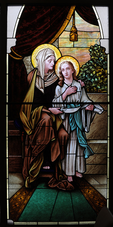 Stained glass image of Jesus in the temple with the Blessed Mother. Our Lady of Lourdes Church, De Pere, Wis. (Sam Lucero photo)