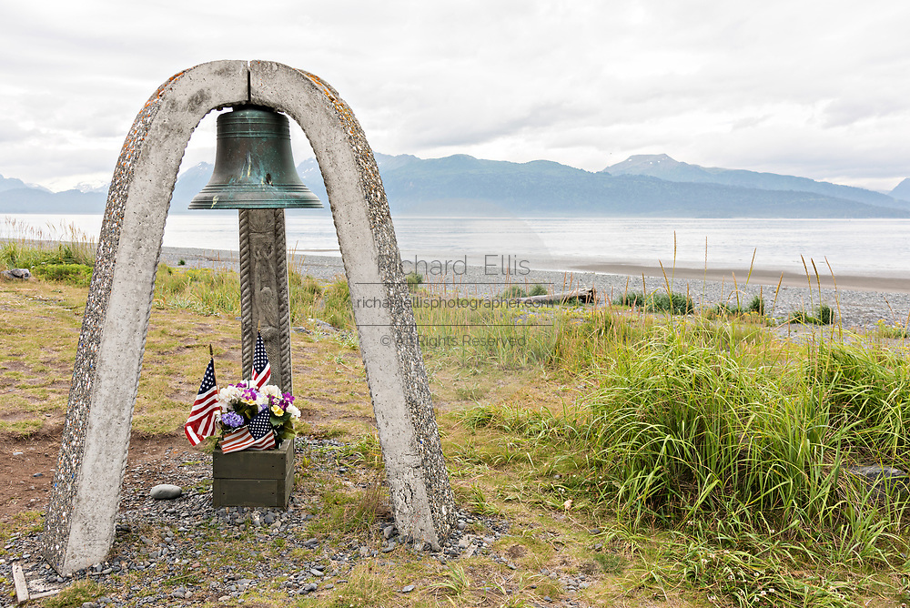 The Seafarers Memorial bell remembering the lives lost at sea for sailors and fisherman along Homer Spit on Kamishak Bay in Homer, Alaska.
