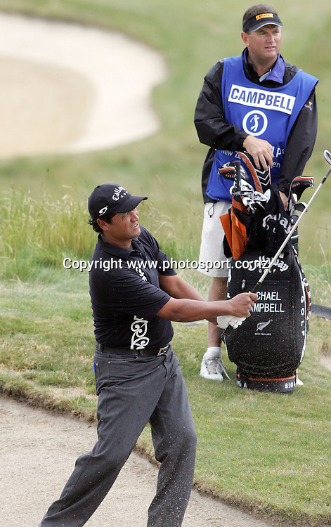Michael Campbell (NZL) chips out of the bunker on day two of the Blue Chip New Zealand Golf Open at Gulf Harbour, Whangaparoa, New Zealand on Friday 1 December 2006. Photo: Hannah Johnston/PHOTOSPORT<br /> <br /> <br /> <br /> 011206
