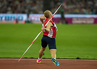Athletics - 2017 IAAF London World Athletics Championships - Day Nine, Evening Session<br /> <br /> Mens Javelin Final<br /> <br /> Jakob Vadlejch (Czech) launches the javelin at the London Stadium<br /> <br /> COLORSPORT/DANIEL BEARHAM