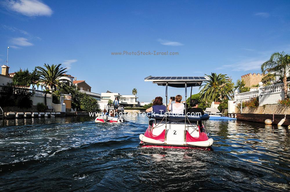Solar powered boat photographed at Empuriabrava, Costa Brava, Spain