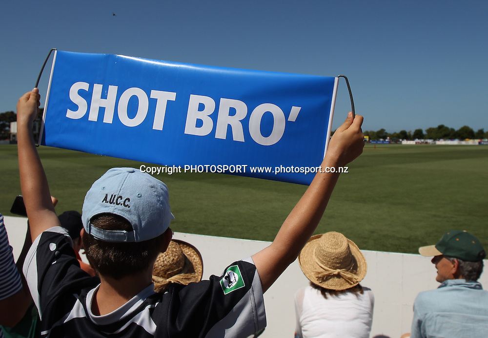 Spectators and fans enjoy the Twenty20 Cricket, HRV Cup Final 2010/11. Auckland Aces v Central Stags, Colin Maiden Park, Auckland. Sunday 2 January 2011. Photo: Andrew Cornaga/photosport.co.nz