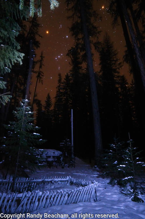 Boyd Hill Cemetery and the constellation Orioin at night. Yaak Valley, Montana.