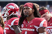 FAYETTEVILLE, AR - SEPTEMBER 5:  Keon Hatcher #4 of the Arkansas Razorbacks watches the scoreboard from the sidelines during a game against the UTEP Miners at Razorback Stadium on September 5, 2015 in Fayetteville, Arkansas.  The Razorbacks defeated the Miners 48-13.  (Photo by Wesley Hitt/Getty Images) *** Local Caption *** Keon Hatcher