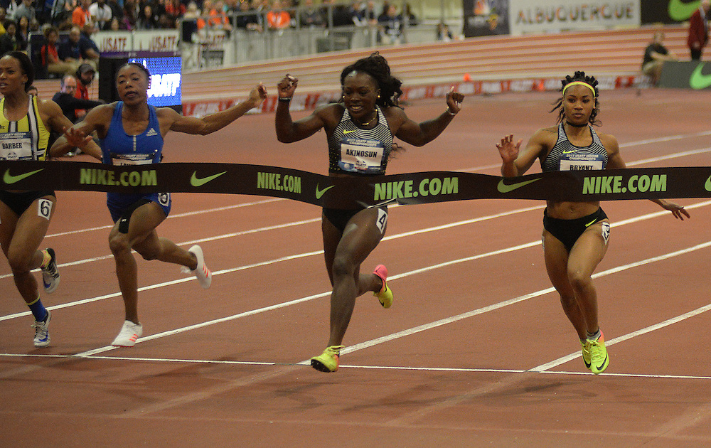 apl030517o/SPORTS/pierre-louis/030517/JOURNAL<br /> Morolake Akinosun , 2nd from right , wins the Women 60Meter during the USA Indoor Track and Field Championships held at the Albuquerque Convention Center.Photographed  on Sunday March 5, 2017. .Adolphe Pierre-Louis/JOURNAL