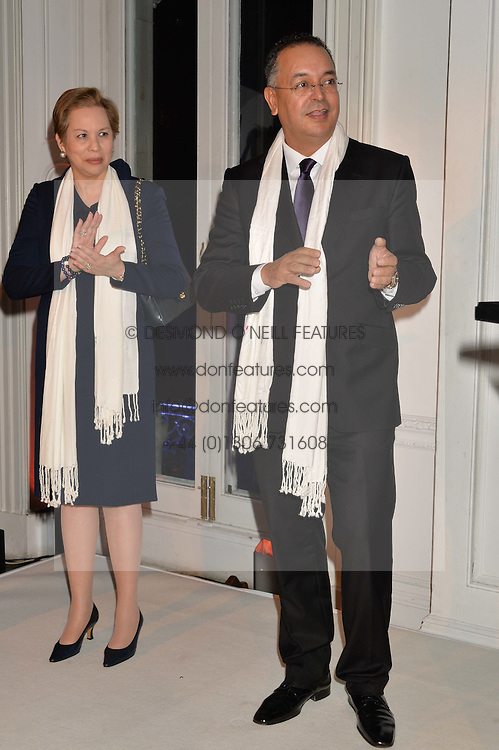 HH PRINCESS LALLA JOUMALA OF MOROCCO and LAHCEN HADDAD the Moroccan Minister of Tourism at White by Agadir hosted by the Moroccan National Tourist Office to celebrate the White City in Morocco in the presence of H.H.Princess Lalla Joumala, Ambassador of HM The King of Morocco held at Il Bottaccio, 9 Grosvenor Place, London on 4th November 2014.