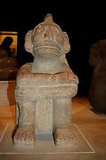 Sandstone seated figure of Mictlantecuhtli; Aztec, AD 1325-1521 From Mexico. Mictlantecuhtli was an Aztec god associated with death.  Pre-Columbian Mesoamerican Mythology Sculpture