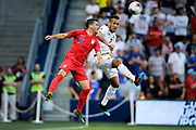 US defender Daniel Lovitz (16) and Panama defender Francisco Palacios (2) go up for the ball during the first half of a CONCACAF Gold Cup soccer match in Kansas City, Kan., Wednesday, June 26, 2019. (AP Photo/Colin E. Braley)