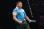 Gerwyn Price wins leg and celebrates during the PDC Premier League Darts at Arena Birmingham, Birmingham, United Kingdom on 25 April 2019.