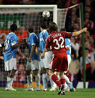 Photo: Paul Thomas.<br /> Liverpool v PSV Eindhoven. UEFA Champions League. Quarter Final, 2nd Leg. 11/04/2007.<br /> <br /> Bolo Zenden (32) of Liverpool watches his penalty just go wide.