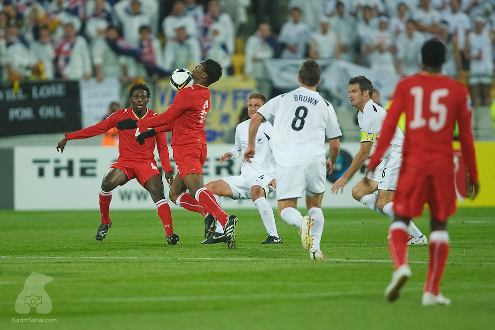 Jaycee John Okwunwanne controls the ball during the second leg of the 2010 FIFA World Cup qualifying game in front a record 35,194 football fans at Westpac Stadium on November 14, 2009. New Zealand beat Bahrain 1-0 and secured a spot at the 2010 World Cup in South Africa.