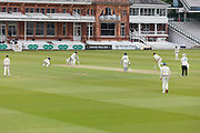 Middlesex on the attack after lunch on the final day during the Specsavers County Champ Div 2 match between Middlesex County Cricket Club and Leicestershire County Cricket Club at Lord's Cricket Ground, St John's Wood, United Kingdom on 17 May 2019.