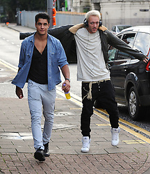 X factor contestants Times Red arriving at Fountain Studios for rehearsals before the live shows, which start on Saturday 6th October. London, UK. 05/10/2012<br />BYLINE MUST READ : GOTCHAIMAGES.COM<br /><br />Copyright by © Gotcha Images Ltd. All rights reserved.<br />Usage of this image is conditional upon the acceptance <br />of Gotcha Images Ltd, terms and conditions available at<br />www.gotchaimages.com