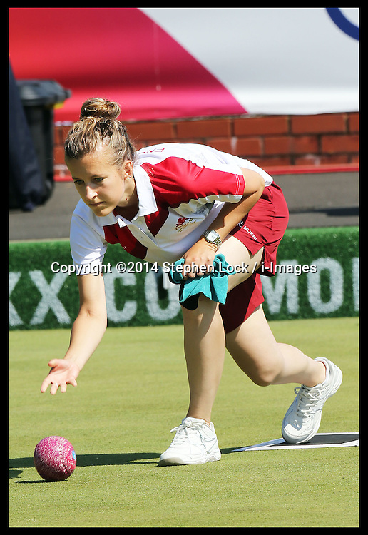 Image licensed to i-Images Picture Agency. 25/07/2014. Glasgow, United Kingdom. England's Natalie Melmore competing in the Lawn Bowls Women's Singles  at the Kelvingrove Bowls Centre during day two of Commonwealth Games in Glasgow.  Picture by Stephen Lock / i-Images