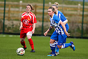Brighton's Lucy Somes pushes forward during the FA Women's Premier League match between Brighton Ladies and Cardiff City Ladies at Brighton's Training Ground, Lancing, United Kingdom on 22 March 2015. Photo by Geoff Penn.