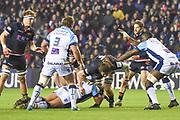 Ben Toolis pushes forward during the Heineken Champions Cup match between Edinburgh Rugby and Montpellier Herault Rugby at BT Murrayfield Stadium, Edinburgh, Scotland on 18 January 2019.