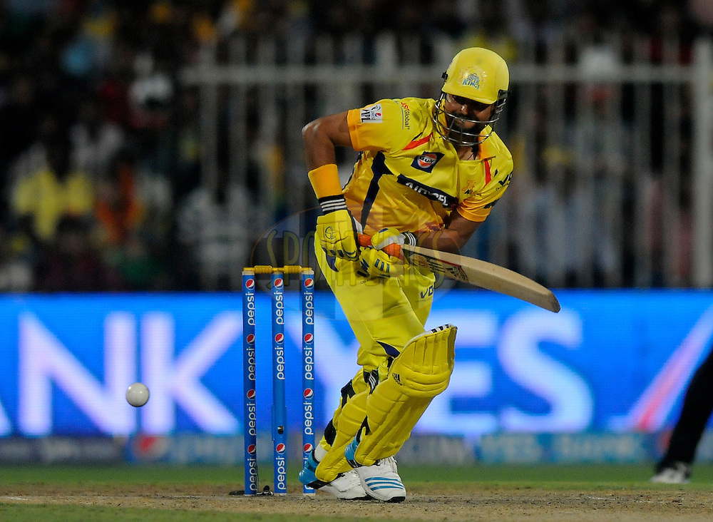 Suresh Raina of The Chennai Superkings bats during match 16 of the Pepsi Indian Premier League 2014 between the Delhi Daredevils and the Mumbai Indians held at the Sharjah Cricket Stadium, Sharjah, United Arab Emirates on the 27th April 2014<br /> <br /> Photo by Pal Pillai / IPL / SPORTZPICS