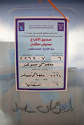 © Licensed to London News Pictures. 30/04/2014. Sulaimaniya, Iraq. A ballot box filled with voting slips is seen inside a school being used as a polling station in the 2014 Iraqi parliamentary elections in Sulaimaniya, Iraqi-Kurdistan today (30/04/2014). . <br /> <br /> The period leading up to the elections, the fourth held since the 2003 coalition forces invasion, has already seen polling stations in central Iraq hit by suicide bombers causing at least 27 deaths. Photo credit: Matt Cetti-Roberts/LNP