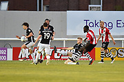 Goal - Hiram Boateng (44) of Exeter City scores a goal to give a 2-0 lead to the home team during the EFL Sky Bet League 2 match between Exeter City and Lincoln City at St James' Park, Exeter, England on 17 May 2018. Picture by Graham Hunt.