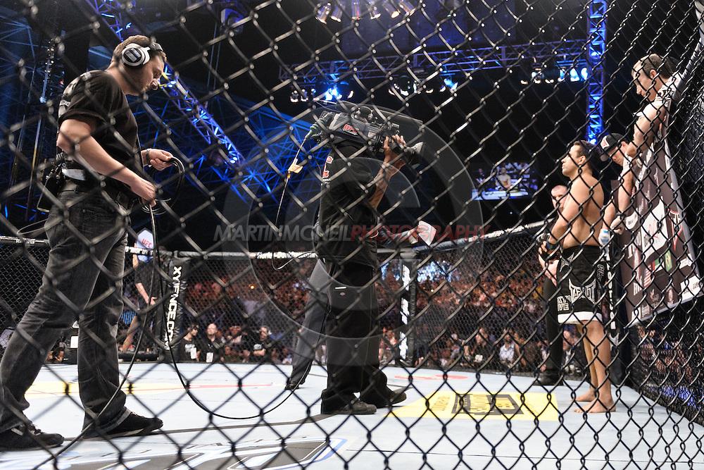"ABU DHABI, UNITED ARAB EMIRATES, APRIL 10, 2010: Renzo Gracie (right) stands in his corner at ""UFC 112: Invincible"" inside Ferari World, Abu Dhabi on April 10, 2010"