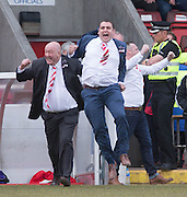 Jumping for joy - Argyle management team Alan Henry and Neil Jardine celebrate at the final whistle - Dundee Argyle win the Scottish Sunday Trophy beating Bullfrog in the final at Forthbank, Stirling - Dundee Argyle win the Scottish Sunday Trophy beating Bullfrog in the final at Forthbank, Stirling<br /> <br /> <br />  - &copy; David Young - www.davidyoungphoto.co.uk - email: davidyoungphoto@gmail.com