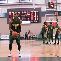 4th year guard Brandon Tull (5) of the Regina Cougars in action during the home game on January  28 at Centre for Kinesiology, Health and Sport. Credit: Arthur Ward/Arthur Images