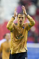 Wigan, England - Sunday, January 21, 2007: Everton's Philip Neville celebrates after beating Wigan Athletic 2-0 during the Premier League match at the JJB Stadium. (Pic by David Rawcliffe/Propaganda)