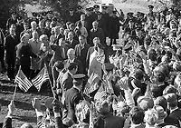 American President Richard Nixon at Timahoe Co Kildare, The President Greets the crowds that gathered, 05/10/1970 (Part of the Independent Newspapers Ireland/NLI Collection).