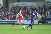 Fleetwood Town striker Ashley Hunter (22) on the attack  during the EFL Sky Bet League 1 match between Fleetwood Town and Charlton Athletic at the Highbury Stadium, Fleetwood, England on 10 September 2016. Photo by John Marfleet.