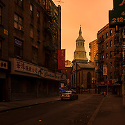 November 2, 2012 - New York, NY : Lower Manhattan soldiered through it's fourth consecutive night without electricity in the wake of Super Storm Sandy. Pictured here, an 88-second-long exposure captures Mott Street near Pell Street, early on Friday morning. CREDIT: Karsten Moran / Aurora Photos