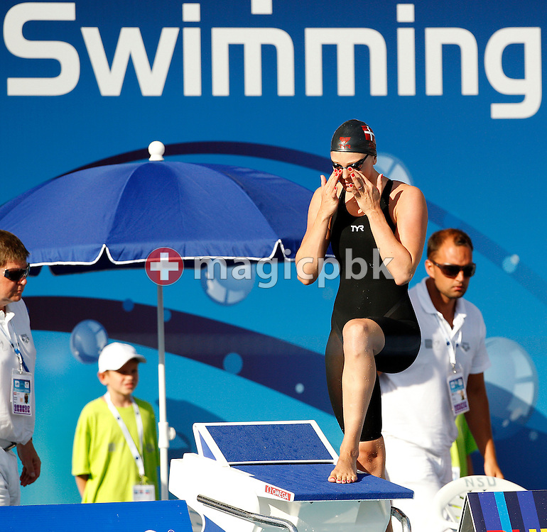 Jeanette OTTESEN of Denmark prepares herself before competing in the women's 50m Butterfly Final at the European Swimming Championship at the Hajos Alfred Swimming complex in Budapest, Hungary, Tuesday, Aug. 10, 2010. (Photo by Patrick B. Kraemer / MAGICPBK)