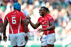 LCpl Semesa Rokoduguni of the Army is congratulated on his try - Photo mandatory by-line: Patrick Khachfe/JMP - Mobile: 07966 386802 09/05/2015 - SPORT - RUGBY UNION - London - Twickenham Stadium - Army v Royal Navy - Babcock Trophy