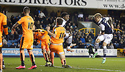 Millwall FC Defender Byron Webster gets another for Millwall during the Sky Bet League 1 match between Millwall and Colchester United at The Den, London, England on 21 November 2015. Photo by Andy Walter.