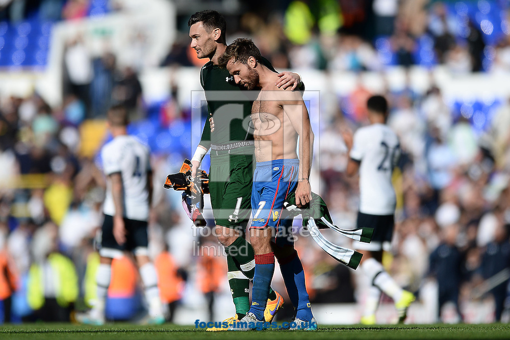 Hugo Lloris of Tottenham Hotspur consoles fellow Frenchman Yohan Cabaye of Crystal Palace at the final whistle during the Barclays Premier League match between Tottenham Hotspur and Crystal Palace at White Hart Lane, London<br /> Picture by Richard Blaxall/Focus Images Ltd +44 7853 364624<br /> 20/09/2015