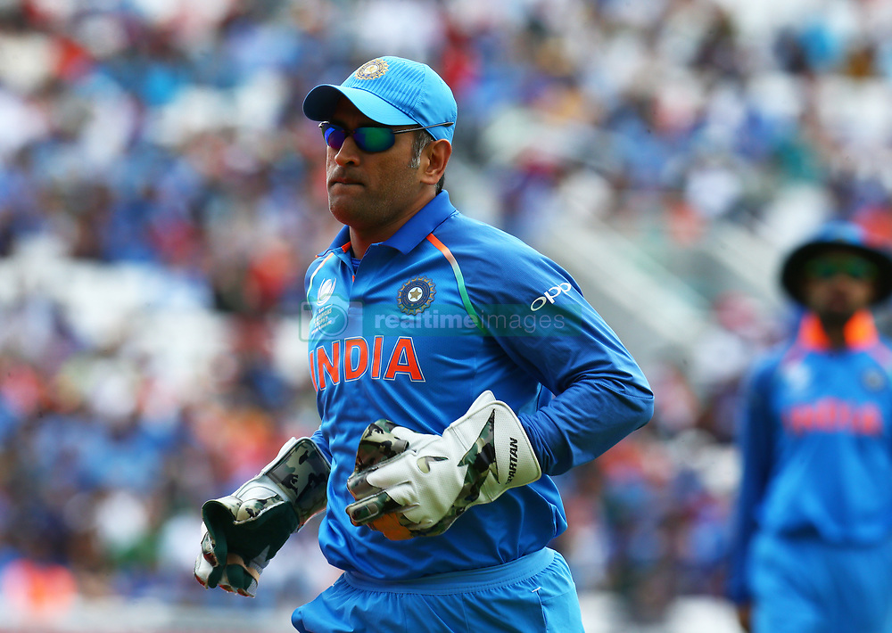 June 11, 2017 - London, United Kingdom - MS Dhoni of India.during the ICC Champions Trophy match Group B between India and South Africa at The Oval in London on June 11, 2017  (Credit Image: © Kieran Galvin/NurPhoto via ZUMA Press)