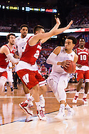 06 APR 2015:  Guard Tyus Jones (5) of Duke University drives in on Guard Bronson Koenig (24) of the University of Wisconsin during the championship game at the 2015 NCAA Men's DI Basketball Final Four in Indianapolis, IN. Duke defeated Wisconsin 68-63 to win the national title. Brett Wilhelm/NCAA Photos