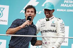 October 1, 2017 - Sepang, Malaysia - Motorsports: FIA Formula One World Championship 2017, Grand Prix of Malaysia, ..Mark Webber (AUS), #44 Lewis Hamilton (GBR, Mercedes AMG Petronas F1 Team) (Credit Image: © Hoch Zwei via ZUMA Wire)